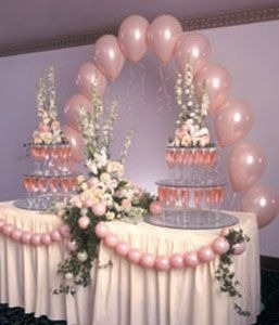 Head Table Buffet Cake Balloon Decorations